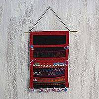 Cotton wall hanging, 'Akha Festival' - Handwoven Cotton Wall Hanging in Tomato and Black