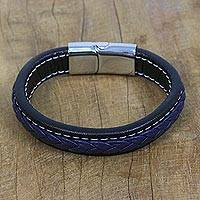 Leather wristband bracelet, 'Worldly Spirit in Blue' - Blue Braided Leather Wristband Bracelet from Thailand
