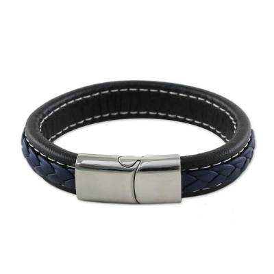 Blue Braided Leather Wristband Bracelet from Thailand