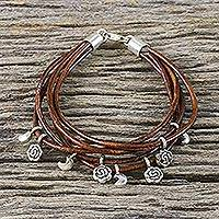 Silver accent leather charm bracelet, 'Brown Moons and Roses' - Handmade Brown Leather Crescent Moon and Rose Charm Bracelet