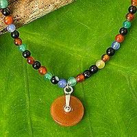 Quartz pendant necklace, 'Colorful Sunrise' - Quartz Multi-Gem Beaded Pendant Necklace from Thailand