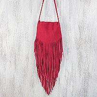 Cow leather shoulder bag, 'Cerise Bohemian' - Handmade Cerise Bohemian Suede Shoulder Bag from Thailand
