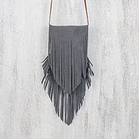 Suede sling, 'Simply Bohemian in Graphite' - Handcrafted Fringed Suede Sling in Graphite from Thailand