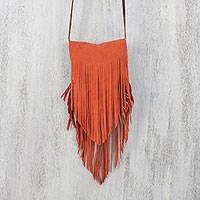 Suede sling, 'Simply Bohemian in Flame' - Handcrafted Fringed Suede Sling in Flame from Thailand