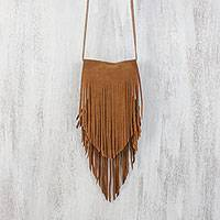 Leather sling, 'Simply Bohemian in Sepia' - Handcrafted Fringed Suede Sling in Sepia from Thailand