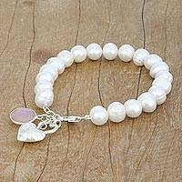 Cultured pearl and chalcedony beaded charm bracelet, 'Alluring Romance' - Cultured Pearl and Chalcedony Beaded Bracelet from Thailand
