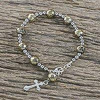 Pyrite and hematite beaded bracelet, 'Glistening Rosary' - Pyrite and Hematite Beaded Rosary Bracelet from Thailand