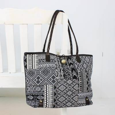 Leather accent cotton blend shoulder bag, 'Sophisticated Geometry' - Leather Accent Cotton Blend Shoulder Bag in Black and White