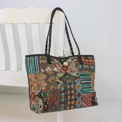 Leather accent cotton blend shoulder bag, 'Exotic Geometry' - Leather Accent Cotton Blend Shoulder Bag from Thailand