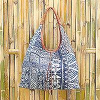 Leather accent cotton blend hobo handbag, 'Lapis Geometry' - Leather Accent Cotton Blend Hobo Bag in Lapis and White