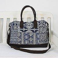 Leather accent cotton blend handbag 'Exotic Adventure' - Leather Accent Cotton Blend Tote in Lapis and White