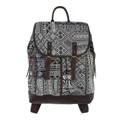 Leather Accent Cotton Blend Backpack in Black and White