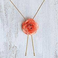 Gold plate and natural rose lariat necklace, 'Garden Rose in Pink' - Gold and Genuine Pink Rose Necklace from Thailand