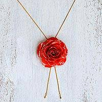 Gold plate and natural rose lariat necklace, 'Garden Rose in Red' - Gold and Genuine Red Rose Necklace from Thailand