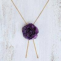 Gold plate and natural rose lariat necklace, 'Garden Rose in Purple' - Purple Rose Statement Necklace from Thailand