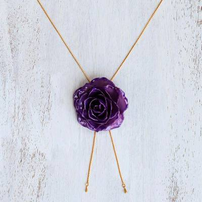 Natural rose lariat necklace, 'Garden Rose in Purple' - Purple Rose Statement Necklace from Thailand