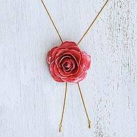 Gold plate and natural rose lariat necklace, 'Garden Rose in Fuchsia' - Gold and Fuchsia Rose Lariat Necklace from Thailand