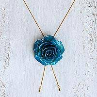 Natural rose lariat necklace, 'Garden Rose in Blue' - 24k Gold Plated Blue Rose Statement Necklace from Thailand
