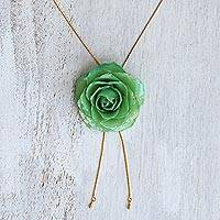 Gold plate and natural rose lariat necklace, 'Garden Rose in Green' - Green Rose Bolo Style Necklace from Thailand