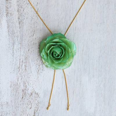 Natural rose lariat necklace, 'Garden Rose in Green' - Green Rose Bolo Style Necklace from Thailand