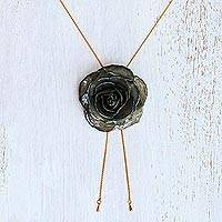 Gold plate and natural rose lariat necklace, 'Garden Rose in Grey' - Unique Grey Rose 24k Statement Necklace from Thailand