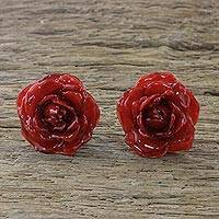 Natural rose button earrings, 'Flowering Passion in Red' - Natural Rose Button Earrings in Red from Thailand