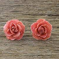 Natural rose button earrings, 'Flowering Passion in Pink' - Natural Rose Button Earrings in Pink from Thailand