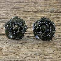 Natural rose button earrings, 'Flowering Passion in Black' - Natural Rose Button Earrings in Black from Thailand