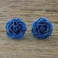 Natural rose button earrings, 'Flowering Passion in Blue' - Natural Rose Button Earrings in Blue from Thailand
