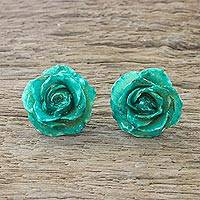 Natural rose button earrings, 'Flowering Passion in Green' - Natural Rose Button Earrings in Aqua from Thailand