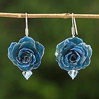 Natural rose dangle earrings, 'Floral Temptation in Azure' - Natural Rose Dangle Earrings in Azure from Thailand