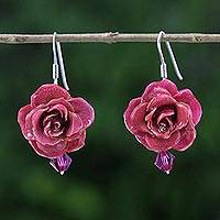 Natural rose dangle earrings, 'Floral Temptation in Cerise' - Natural Rose Dangle Earrings in Cerise from Thailand