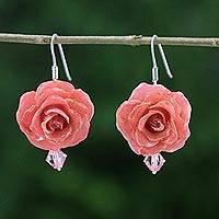 Natural rose dangle earrings, 'Floral Temptation in Pink' - Natural Rose Dangle Earrings in Pink from Thailand