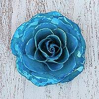Natural rose brooch, 'Rosy Mood in Azure' - Artisan Crafted Natural Rose Brooch in Azure from Thailand