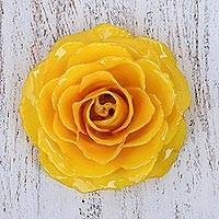 Natural rose brooch, 'Rosy Mood in Yellow' - Artisan Crafted Natural Rose Brooch in Yellow from Thailand