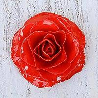 Natural rose brooch, 'Rosy Mood in Red' - Artisan Crafted Natural Rose Brooch in Red from Thailand