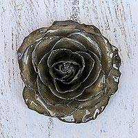 Natural rose brooch, 'Rosy Mood in Black' - Artisan Crafted Natural Rose Brooch in Black from Thailand