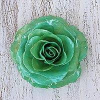 Natural rose brooch, 'Rosy Mood in Green' - Artisan Crafted Natural Rose Brooch in Green from Thailand