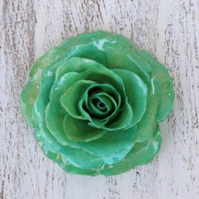 Natural rose brooch, Rosy Mood in Green