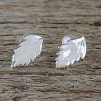 Sterling silver plated natural leaf button earrings, 'Shining Fern' - Silver Plated Natural Davallia Leaf Earrings from Thailand