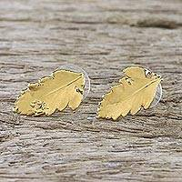 Gold plated natural leaf button earrings, 'Shining Fern' - Gold Plated Natural Davallia Leaf Earrings from Thailand