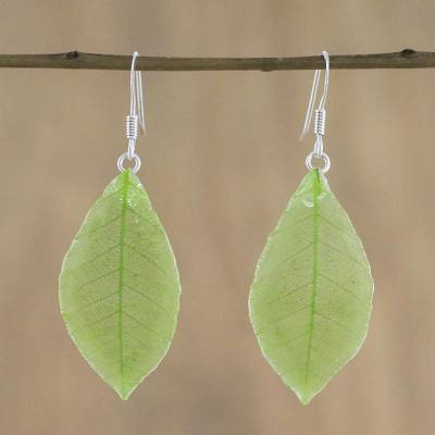 Natural leaf dangle earrings, 'Stunning Nature in Sap Green' - Natural Leaf Dangle Earrings in Sap Green from Thailand