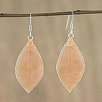 Natural leaf dangle earrings, 'Stunning Nature in Sunrise' - Natural Leaf Dangle Earrings in Sunrise from Thailand