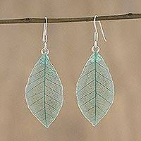 Natural leaf dangle earrings, 'Stunning Nature in Jade' - Natural Leaf Dangle Earrings in Jade from Thailand