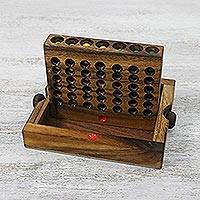 Wood game, 'Four in a Row' - Handcrafted Wood Connect Four Game from Thailand