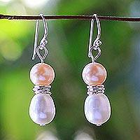 Cultured pearl dangle earrings, 'Luxury Orbs' - Cultured Pearl and Sterling Silver Earrings from Thailand