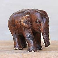 Teakwood elephant sculpture, 'Nature Trip' - Handmade Teakwood Elephant Sculpture from Thailand