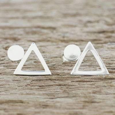 Sterling silver button earrings, Geometric Simplicity