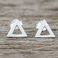 Sterling silver stud earrings, 'Silver Triangles' - Handcrafted Sterling Silver Triangle Stud Earrings