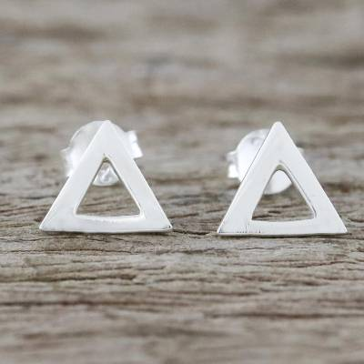 Sterling silver stud earrings, Silver Triangles